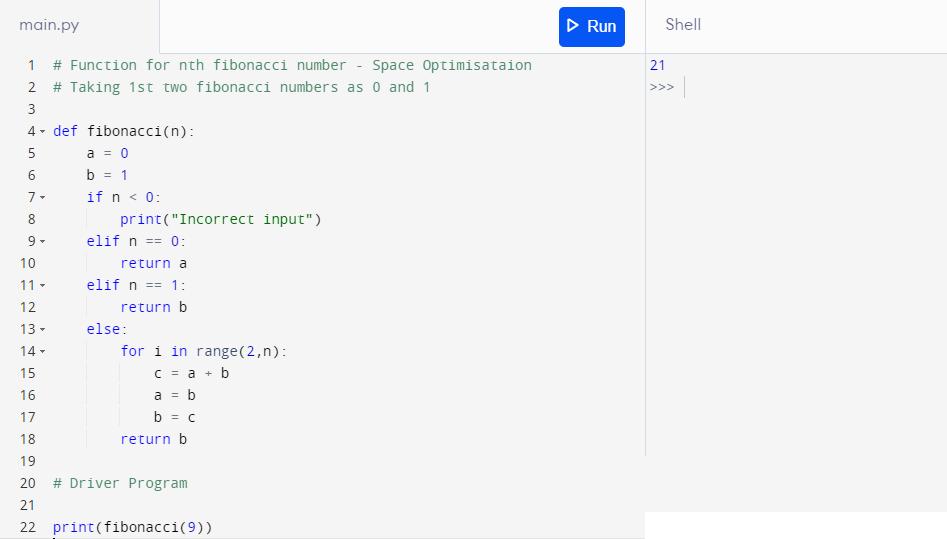 Python programming for fibonacci numbers-3